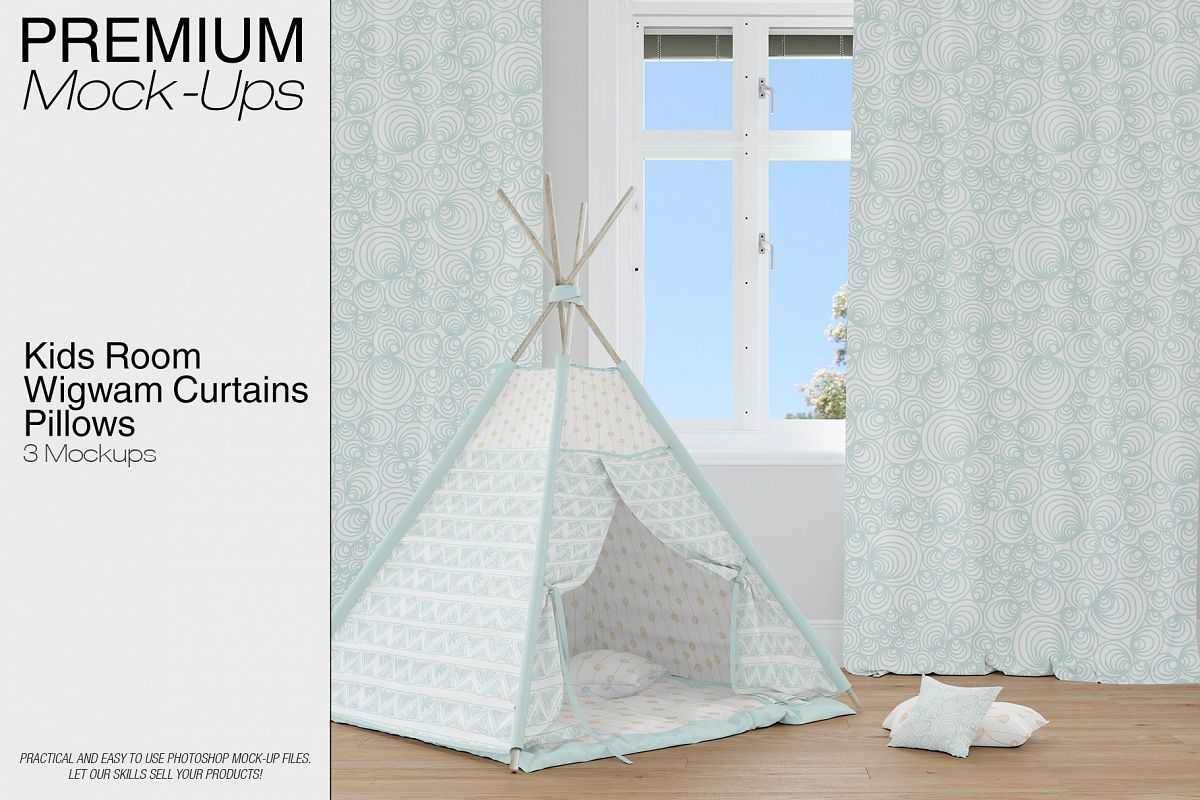 Kids Room   Wigwam Curtains Pillows Example Image 1