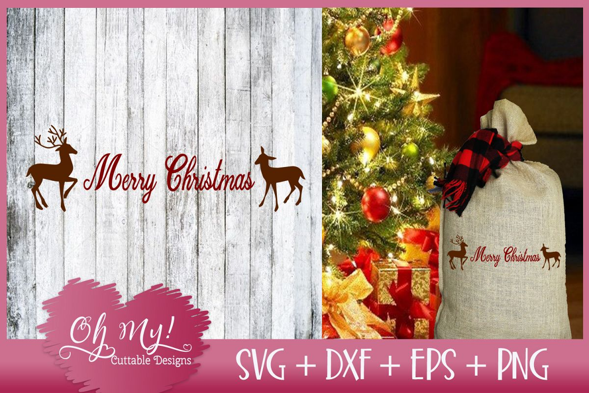 Merry Christmas Reindeer - SVG DXF EPS PNG example image 1