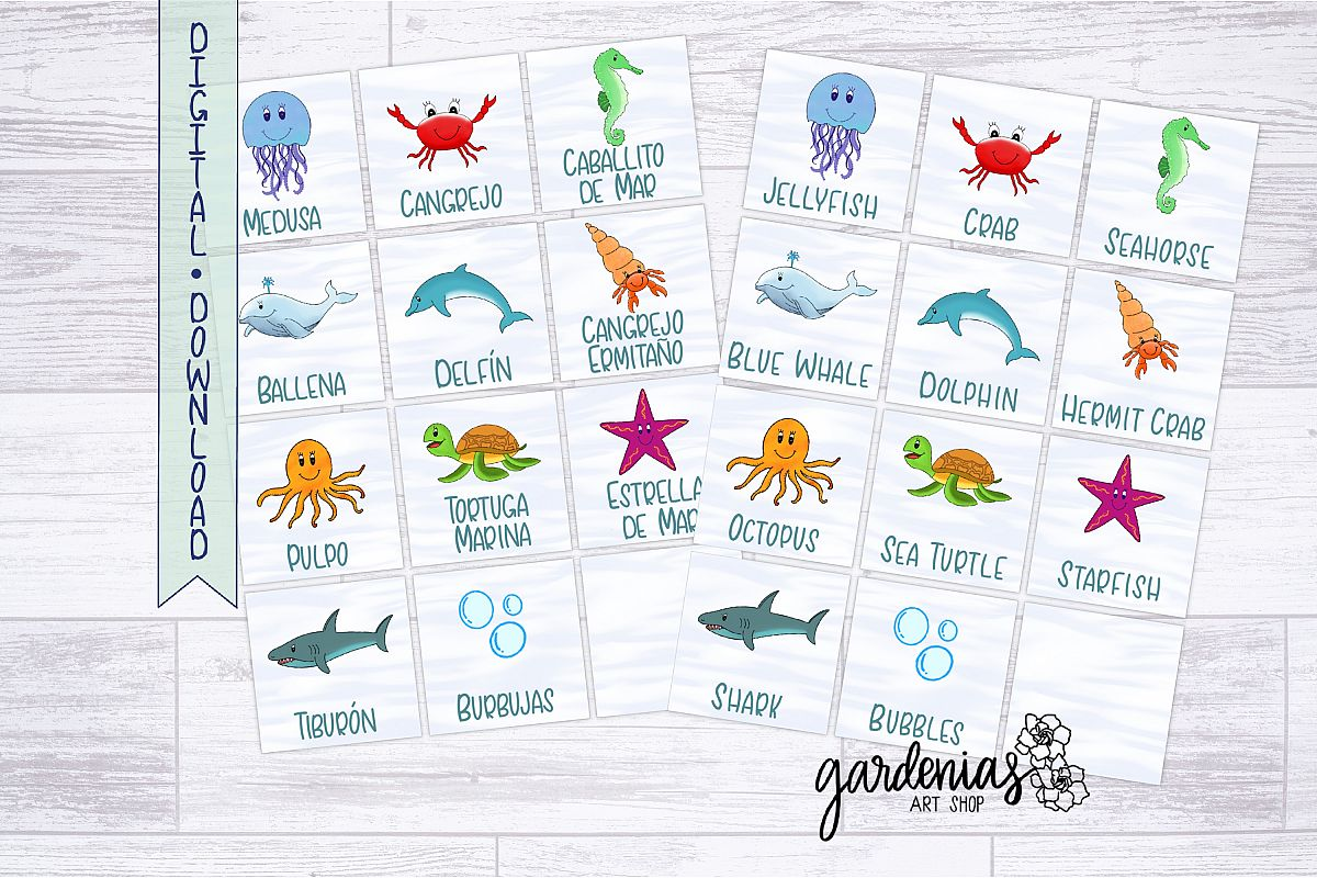 photo about Animal Cards Printable named Sea Pets Memory Sport Printable Matching Activity Playing cards