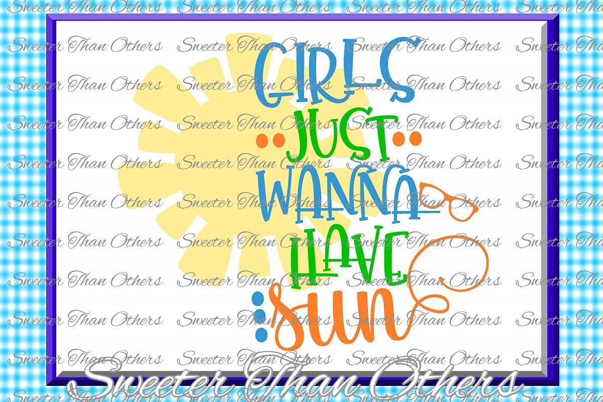 Beach Svg Girls Just Wanna Have Sun svg, Summer Beach patter example image 1