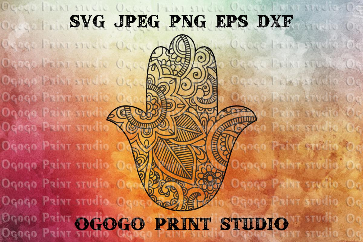 Hamsa Hand Svg, Zentangle Svg, Religious Mandala svg, Cricut example image 1