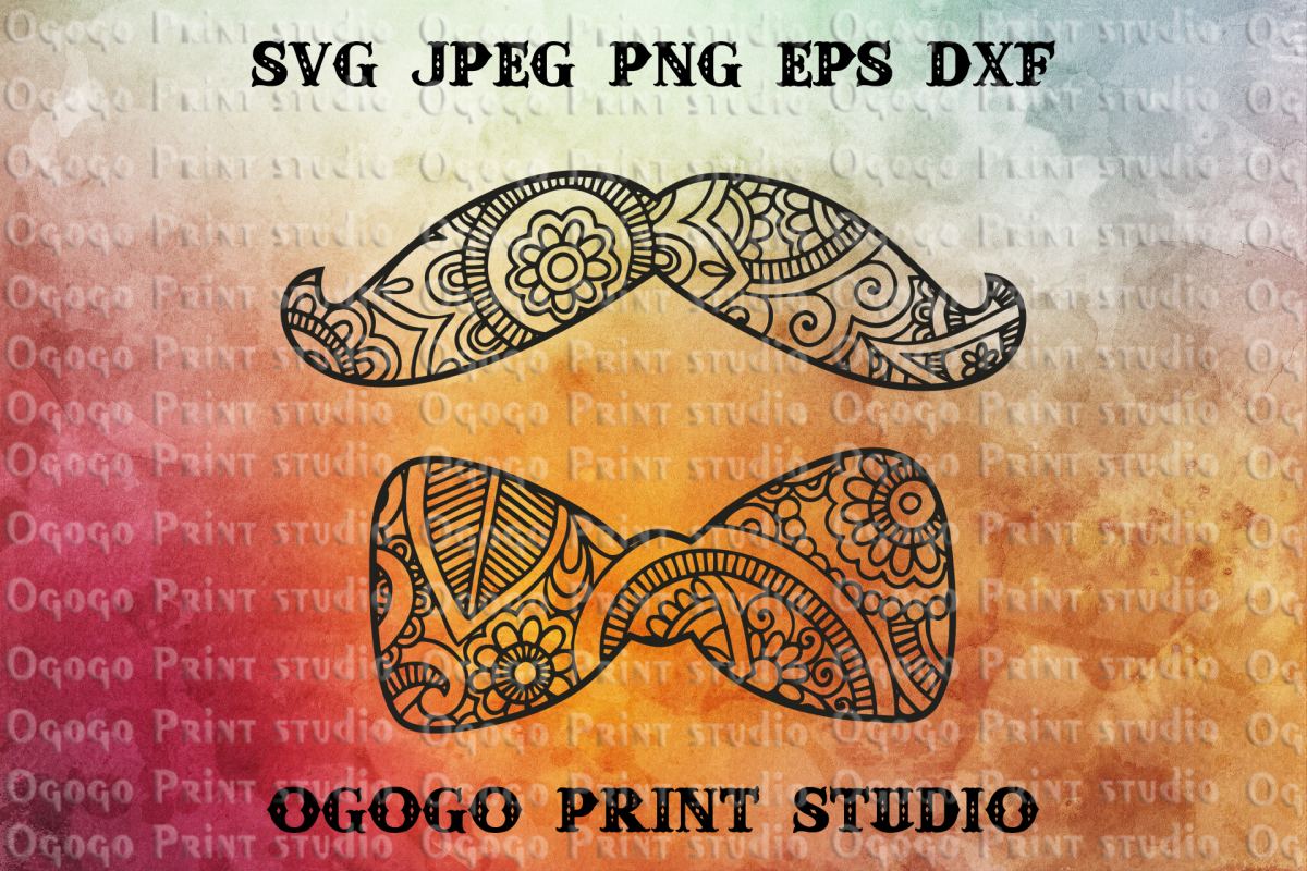 Mustache & Bowtie SVG, Zentangle Svg, Man Svg, Mandala svg example image 1