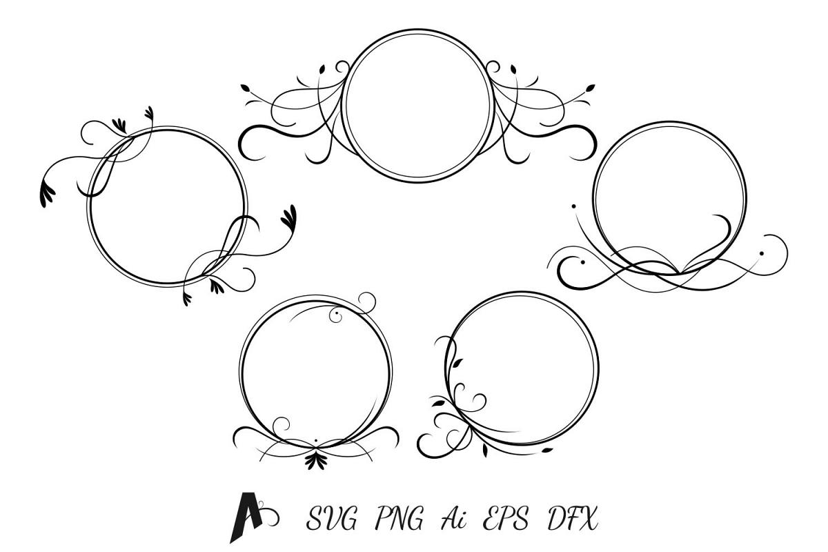 Decorative frames design. Flower frames vector elements. example image 1