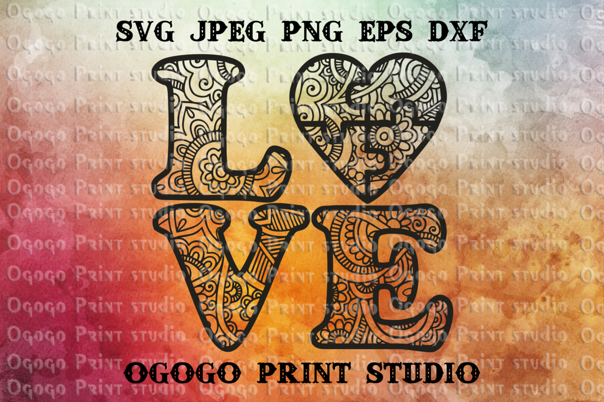 Love Mandala svg, Jigsaw puzzles Svg, Autism Svg, Zentangle example image 1