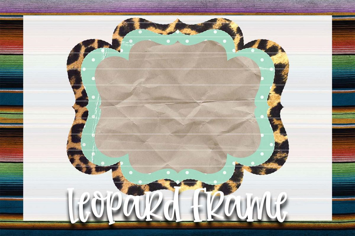 Mint & Cream Polka-Dots Leopard Frame Background Element example image 1