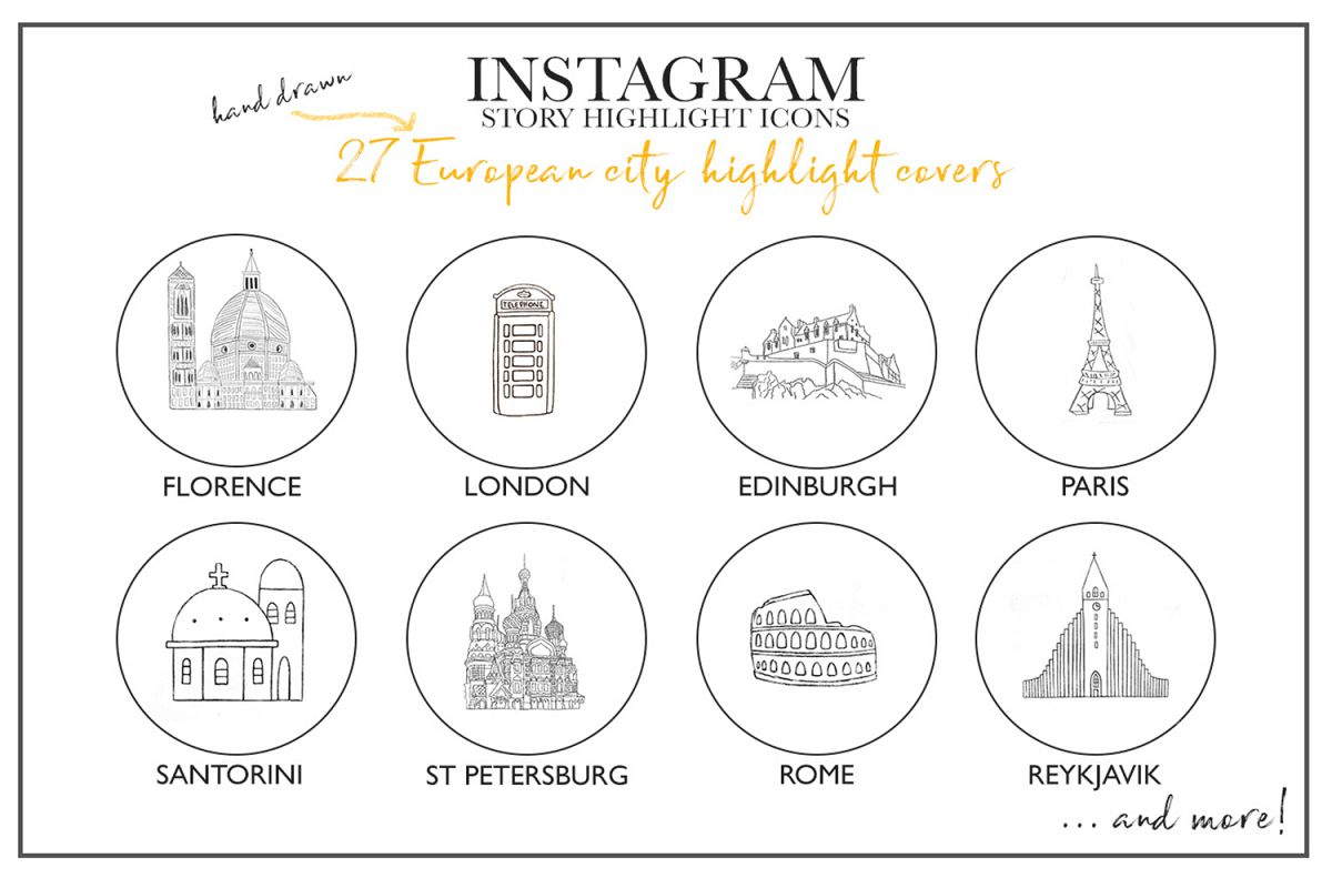 Christmas Icon For Instagram Highlights.Instagram Story Travel Icons 27 Hand Drawn City Icons