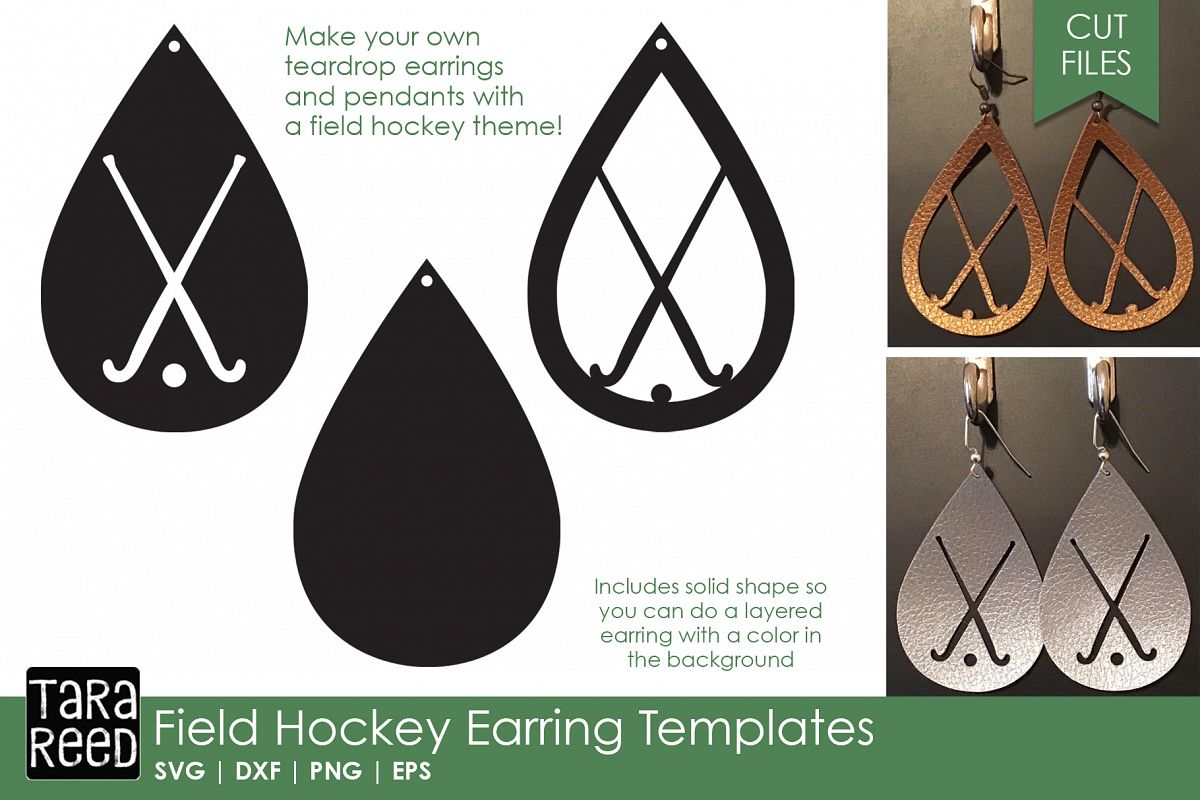 Field Hockey Earring Templates - Field Hockey Cut Files example image 1
