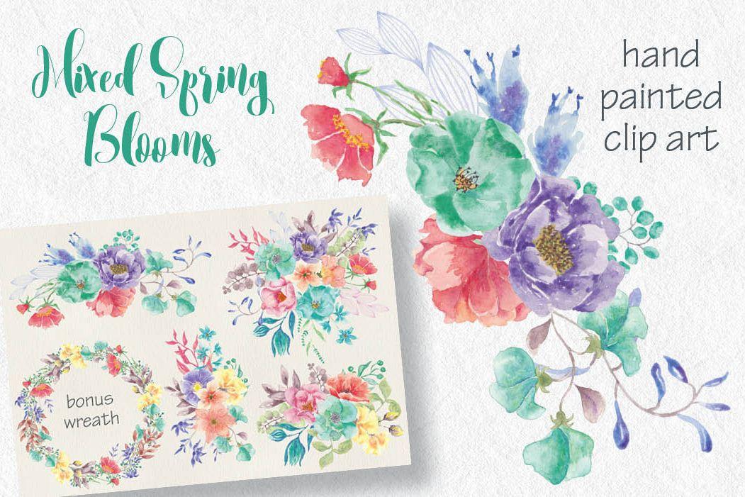 Set of watercolor sprays in spring blooms example image 1