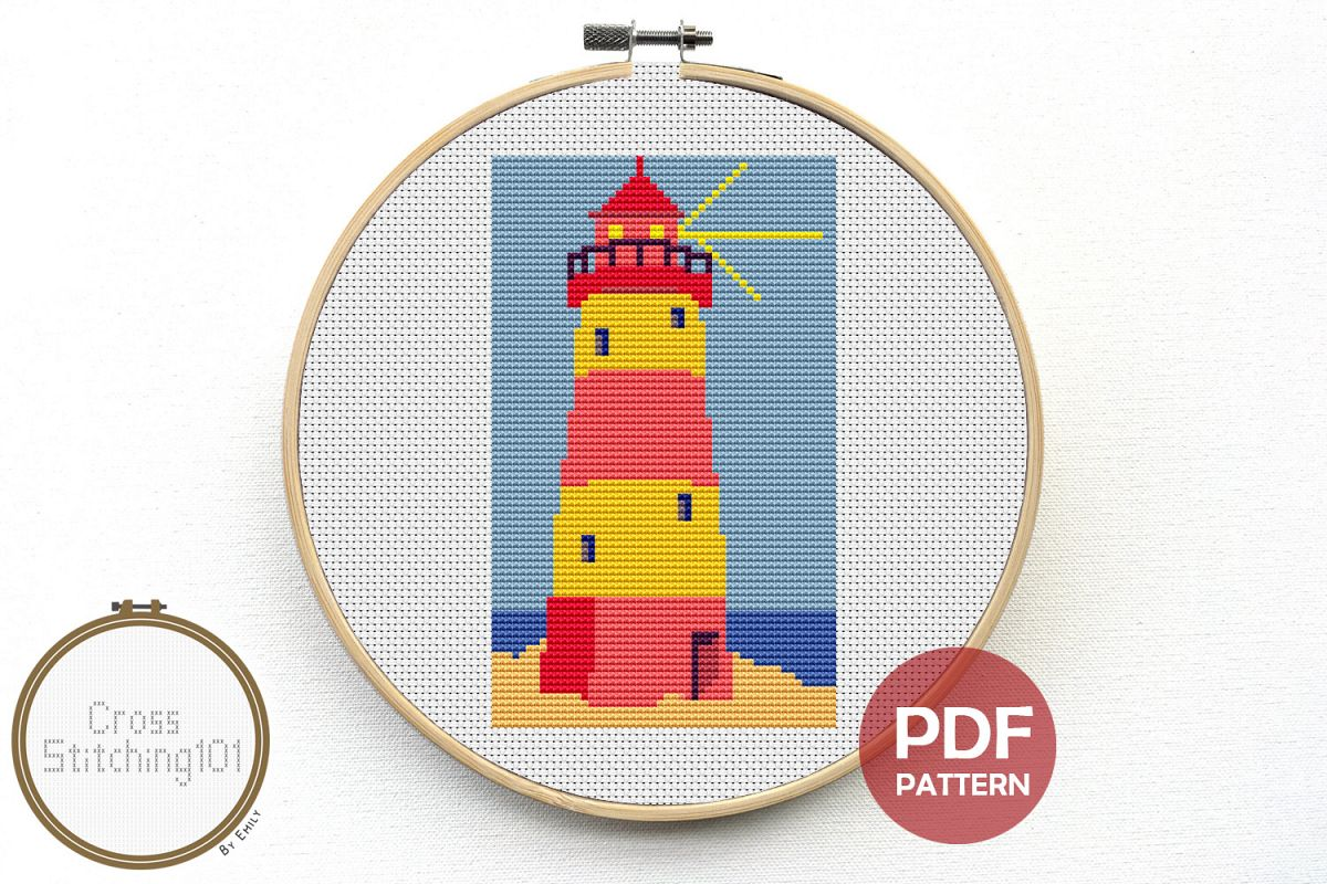 Lighthouse Cross Stitch Pattern - Instant Download PDF example image 1