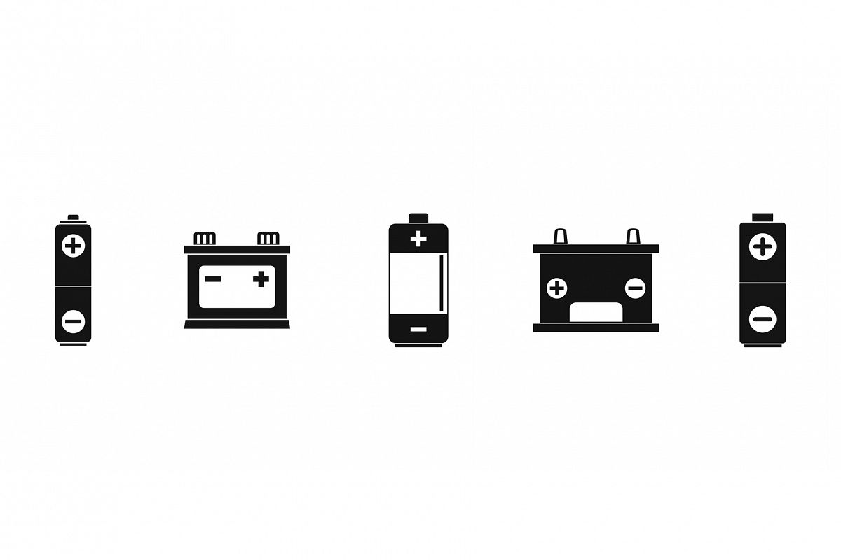Battery icon set, simple style example image 1