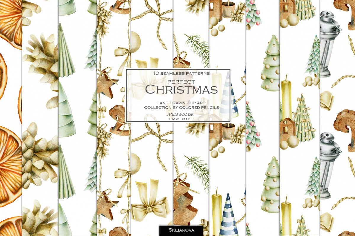 Perfect Christmas. 10 Christmas patterns. example image 1