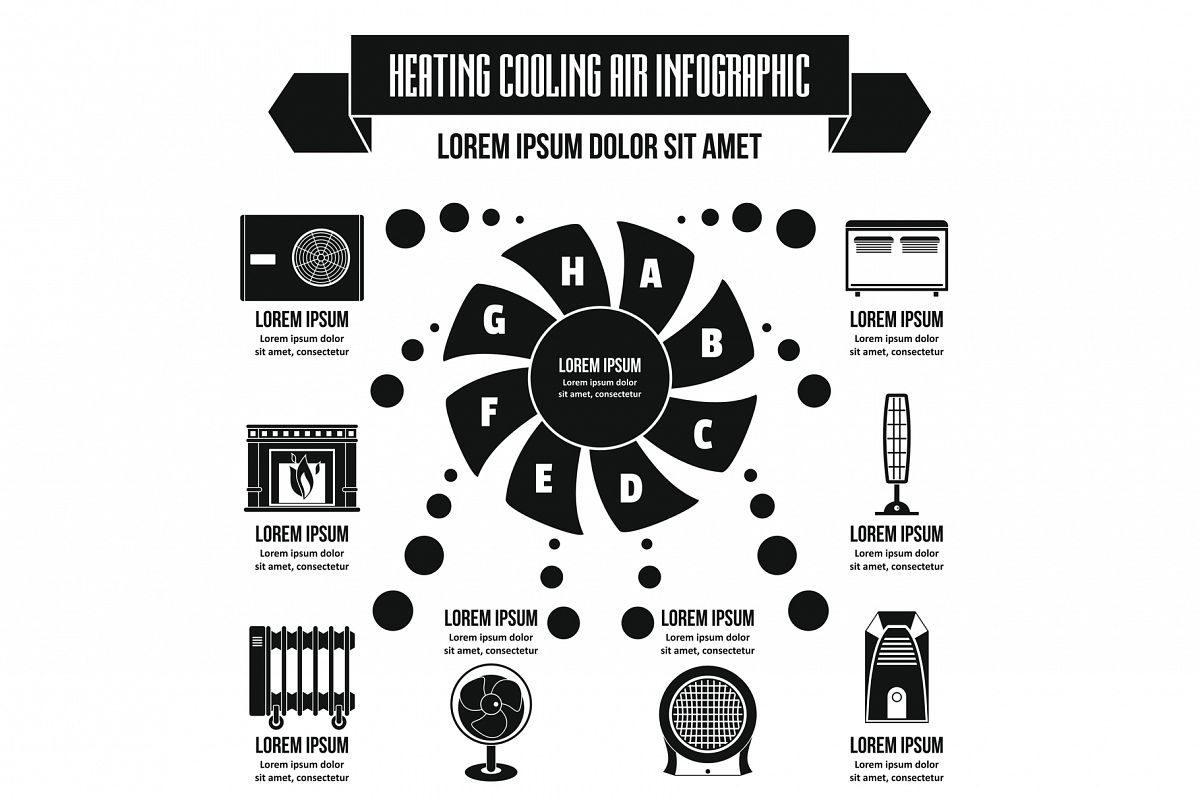 Heating cool air infographic concept, simple style example image 1