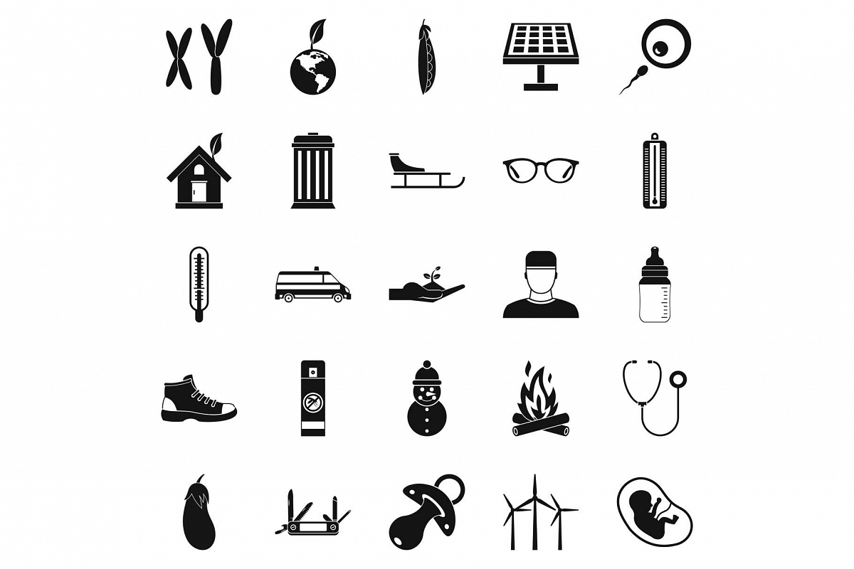 Children camp icons set, simple style example image 1