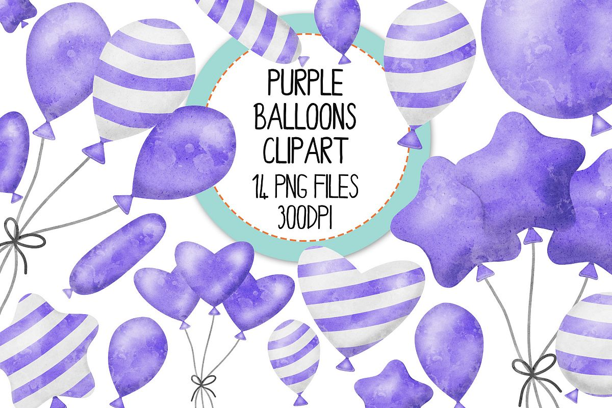 Purple Watercolor Balloon Clipart Set example image 1