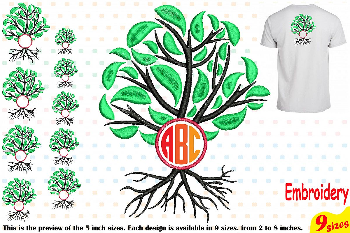 Family Tree Circle Embroidery Design Machine Instant Download Commercial Use digital Outline family love Frame Deep Roots Branches 206b example image 1