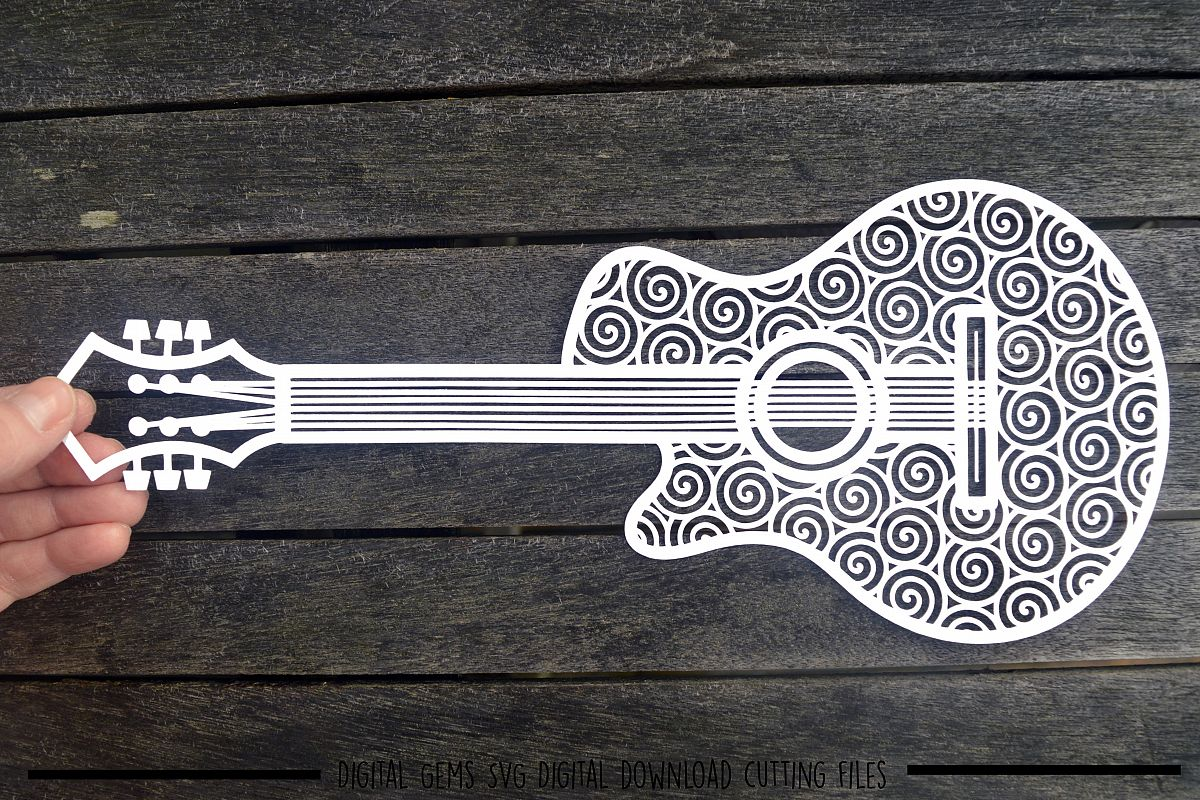 Guitar paper cut SVG / DXF / EPS files example image 1