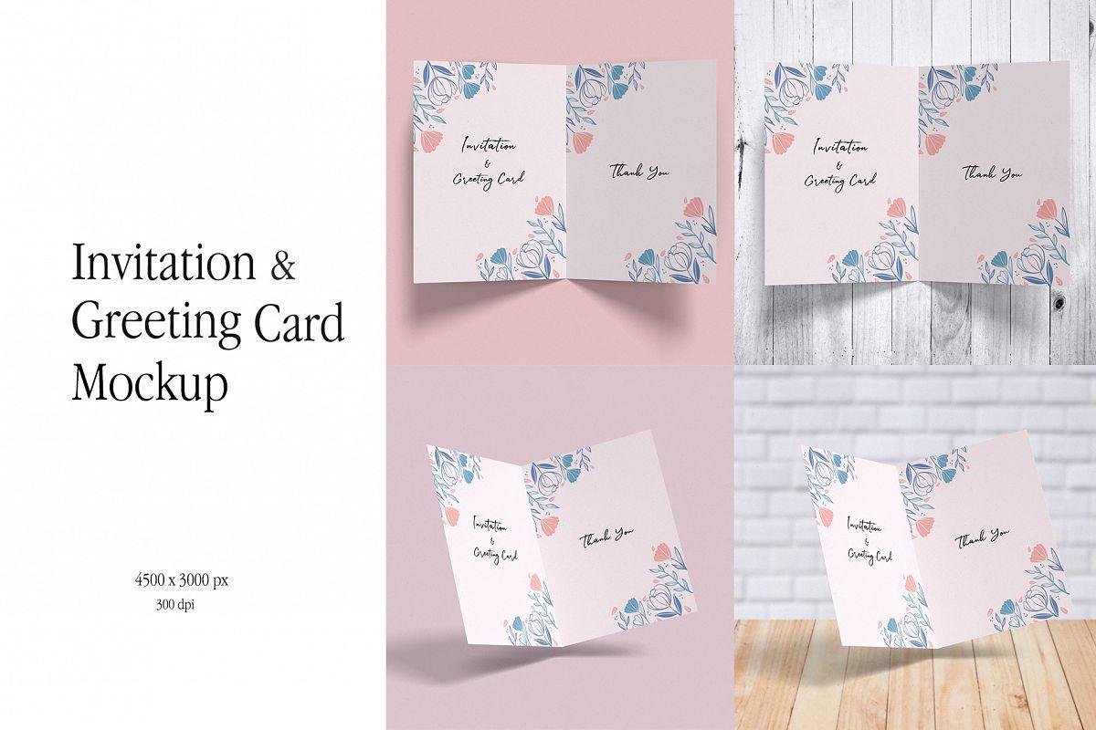 Invitation & Greeting Card Mockup example image 1