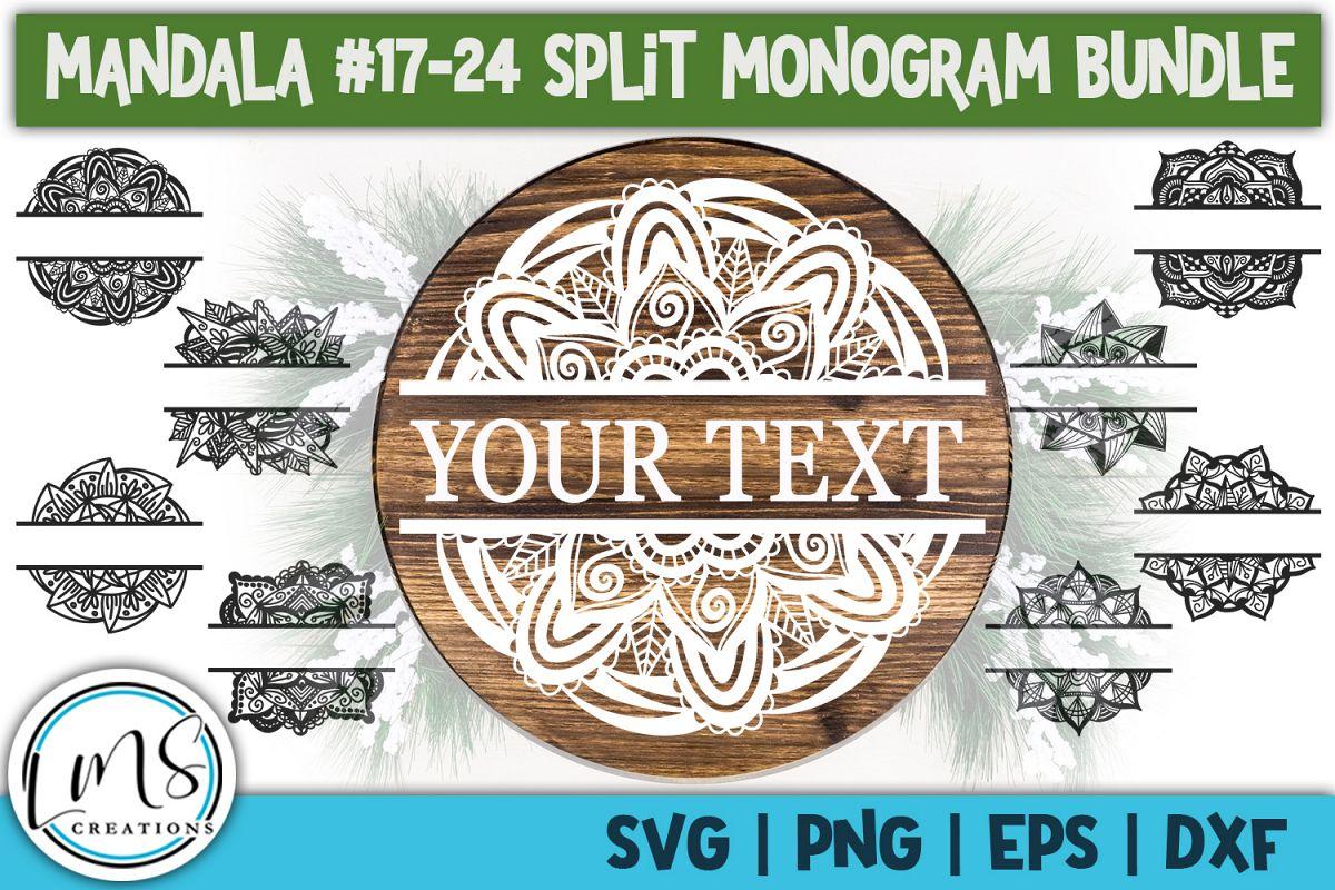Split Mandala 17-24 Split Monogram Bundle SVG, PNG, EPS, DXF example image 1