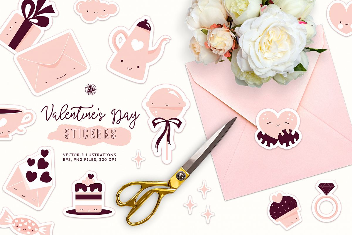 Cute Valentine's Day Stickers example image 1