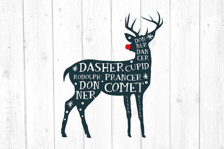 Reindeer Names Svg, Deer Svg, Christmas, Christmas Svg example image 1