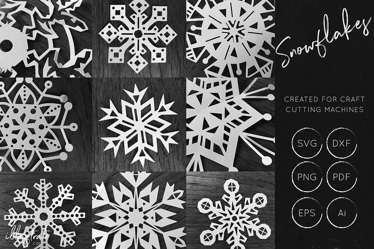 Snowflake SVG Cut File Bundles - Christmas SVG - Snowflakes example image 1