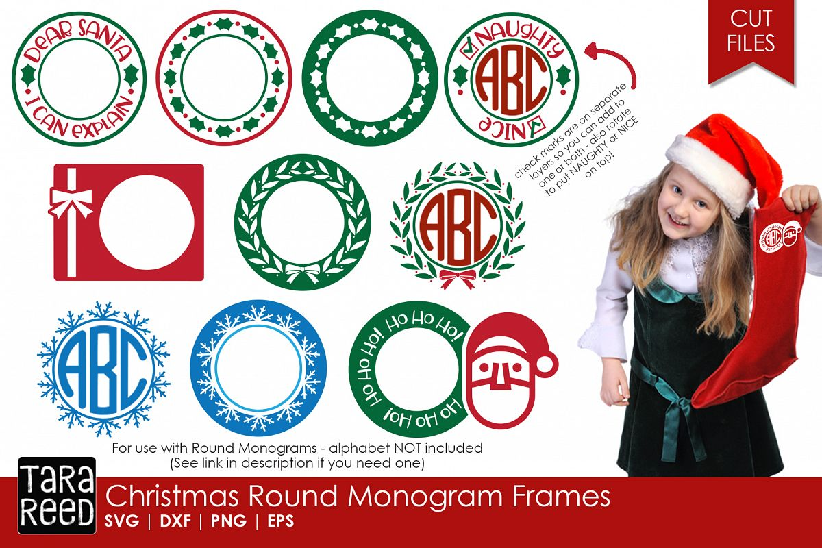 christmas round monogram frames svg cut files for crafts example image 1 - Christmas Monograms