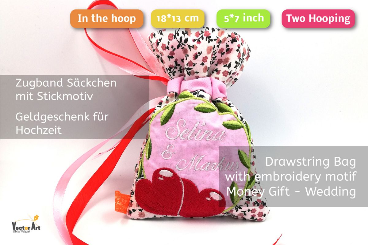 ITH -Drawstring Bag for Wedding Money Gift - Embroidery File example image 1