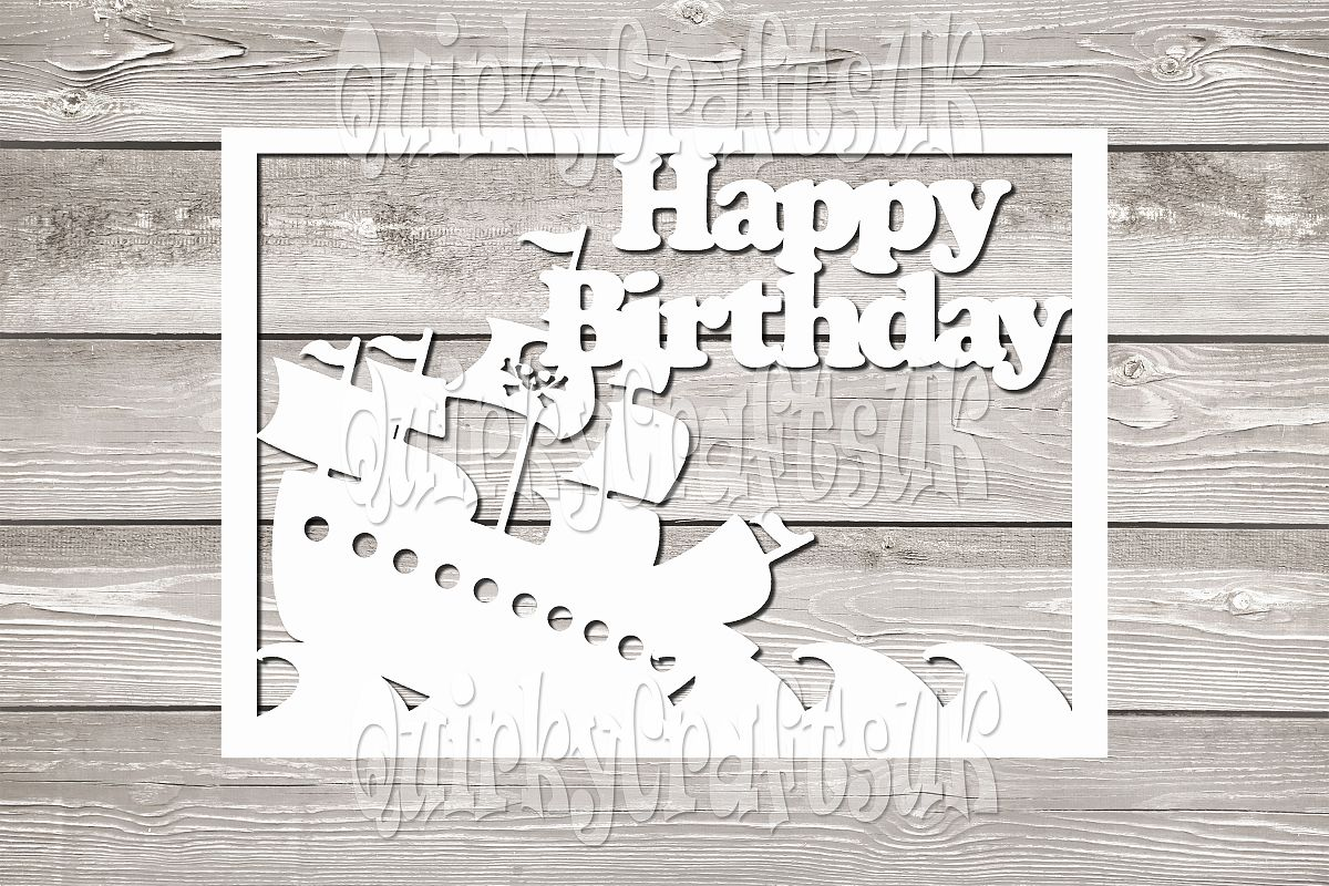 Happy Birthday Pirate Ship SON Papercutting Templates