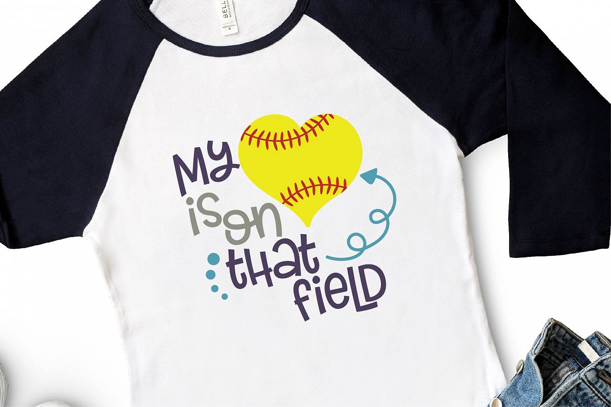 Softball Mom SVG, My Heart Is On That Field SVG, Girl Power example image 1
