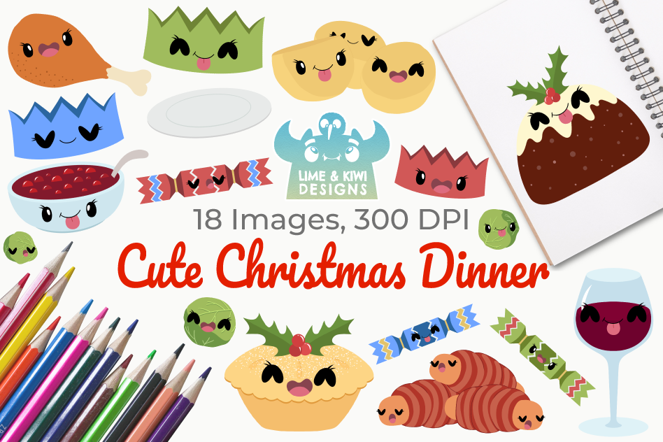 Cute Christmas Dinner Clipart, Instant Download Vector Art example image 1