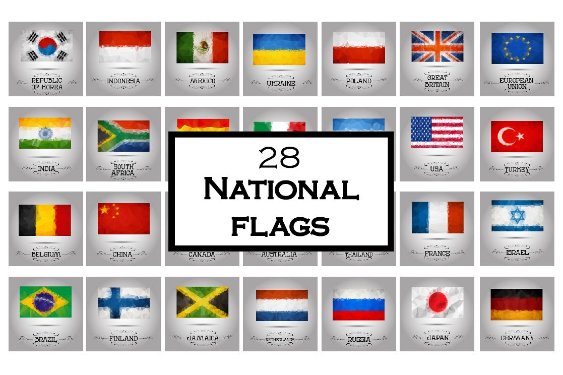 Polygonal flags vector set. example image 1
