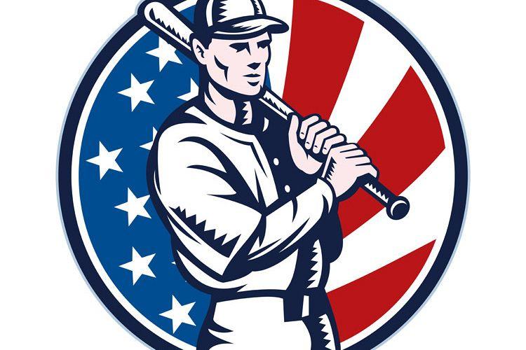 Baseball player holding bat american flag example image 1