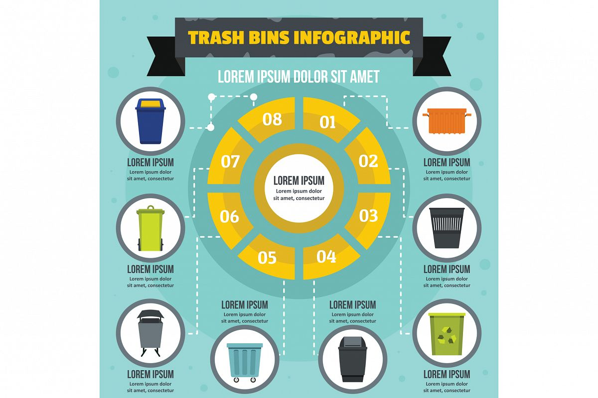 Trash bins infographic concept, flat style example image 1