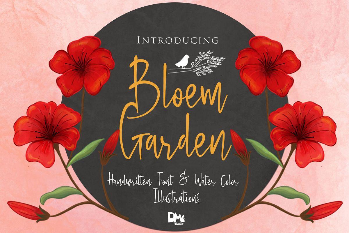 Bloem Garden - Handwritten Font with Watercolour Package example image 1