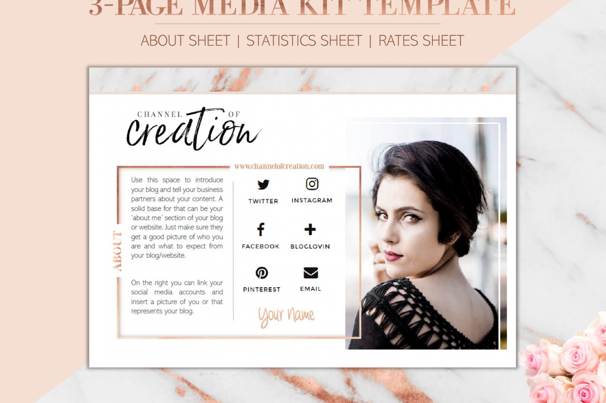 3 Page Media Kit Blogger Template Rosie Press Kit For Blog Ms