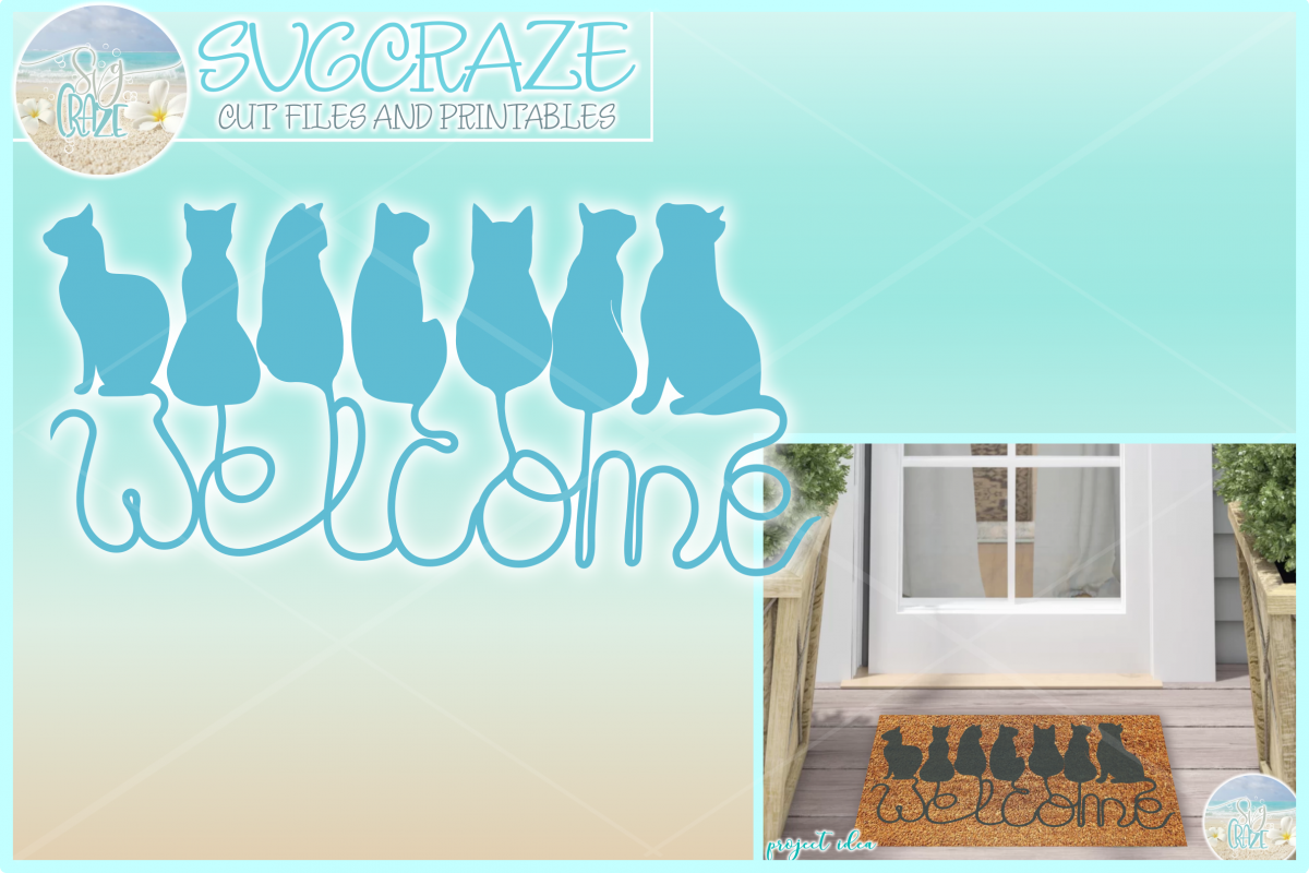 Cats Welcome Coir Door Mat Design Svg Dxf Eps Png Pdf Files example image 1