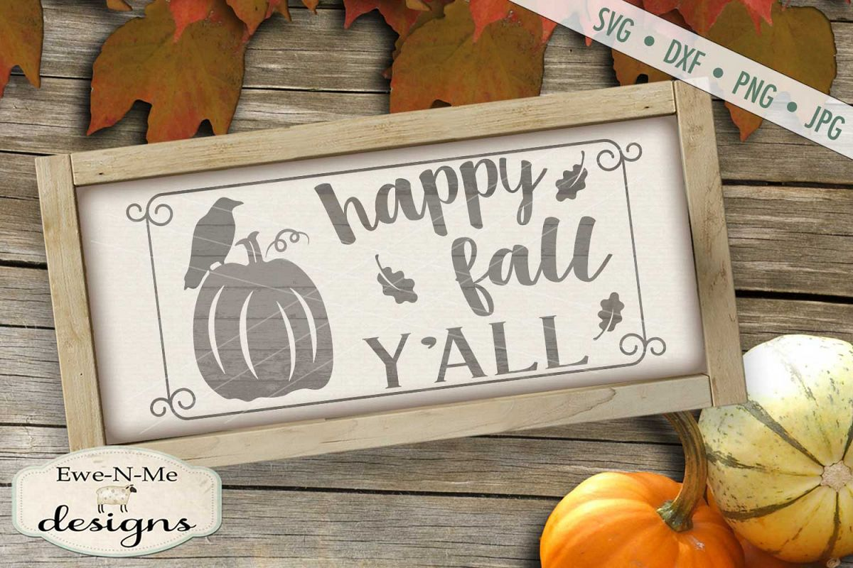 Happy Fall Y'all Crow Pumpkin SVG DXF Files example image 1