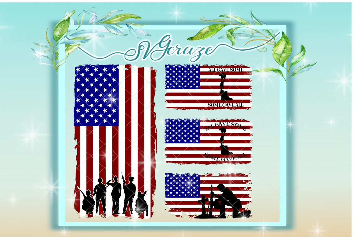 american flag svg american flag with soldiers svg flag dxf flag