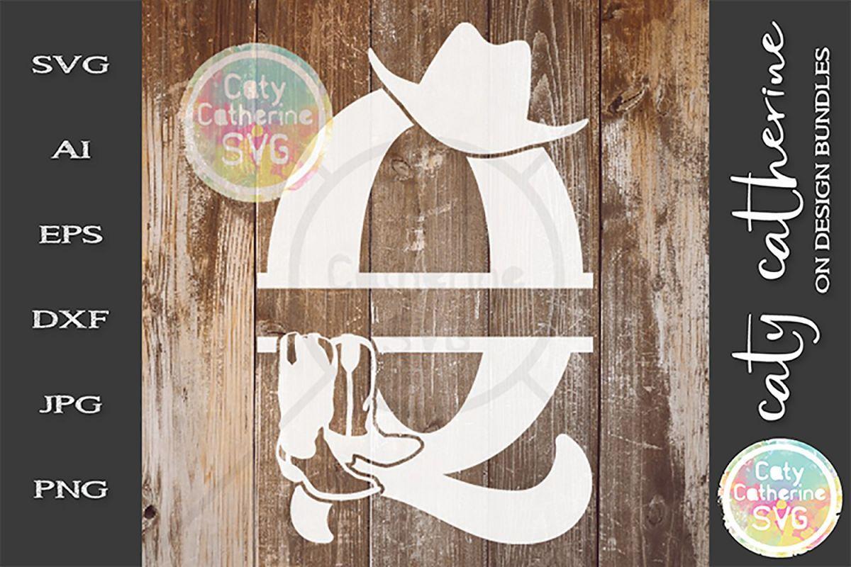 Letter Q Cowboy Monogram SVG Includes Cowboy Boots example image 1