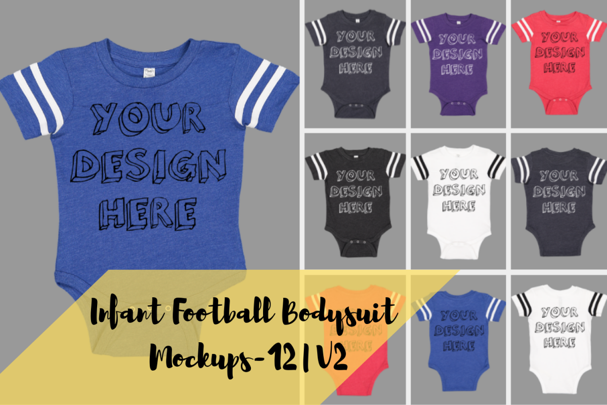Infant Football Bodysuit Mockups - 12 |PNG|Front/Back - V2 example image 1