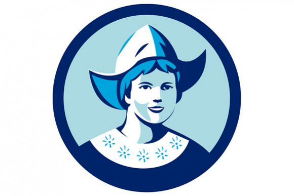 Dutch Lady Wearing Bonnet Circle Retro example image 1