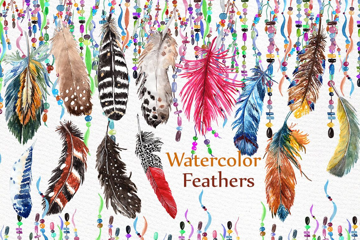 Watercolor feathers clip art example image 1