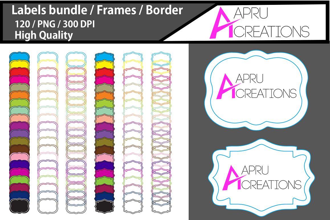 Label frames clip art design / label high quality 120 / frames / borders / high quality designs / hand drawn frames / commercial use example image 1