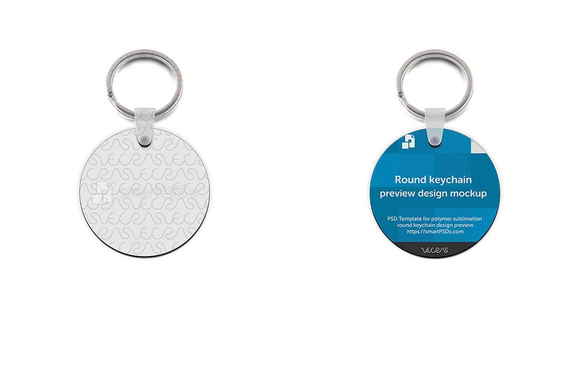 Round Shape Keyring Design Mockup - 2 Views example image 1