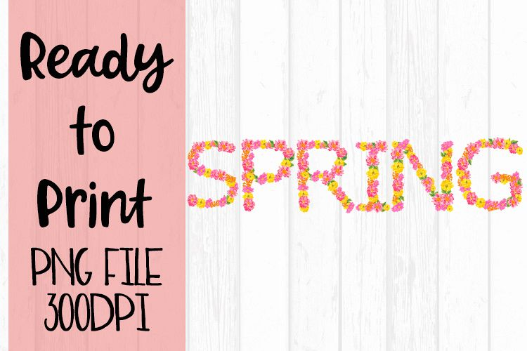 Spring Word Art with Flowers Ready to Print example image 1