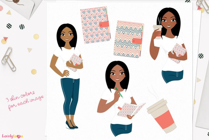 Woman planner character clip art L192 Layla example image 1