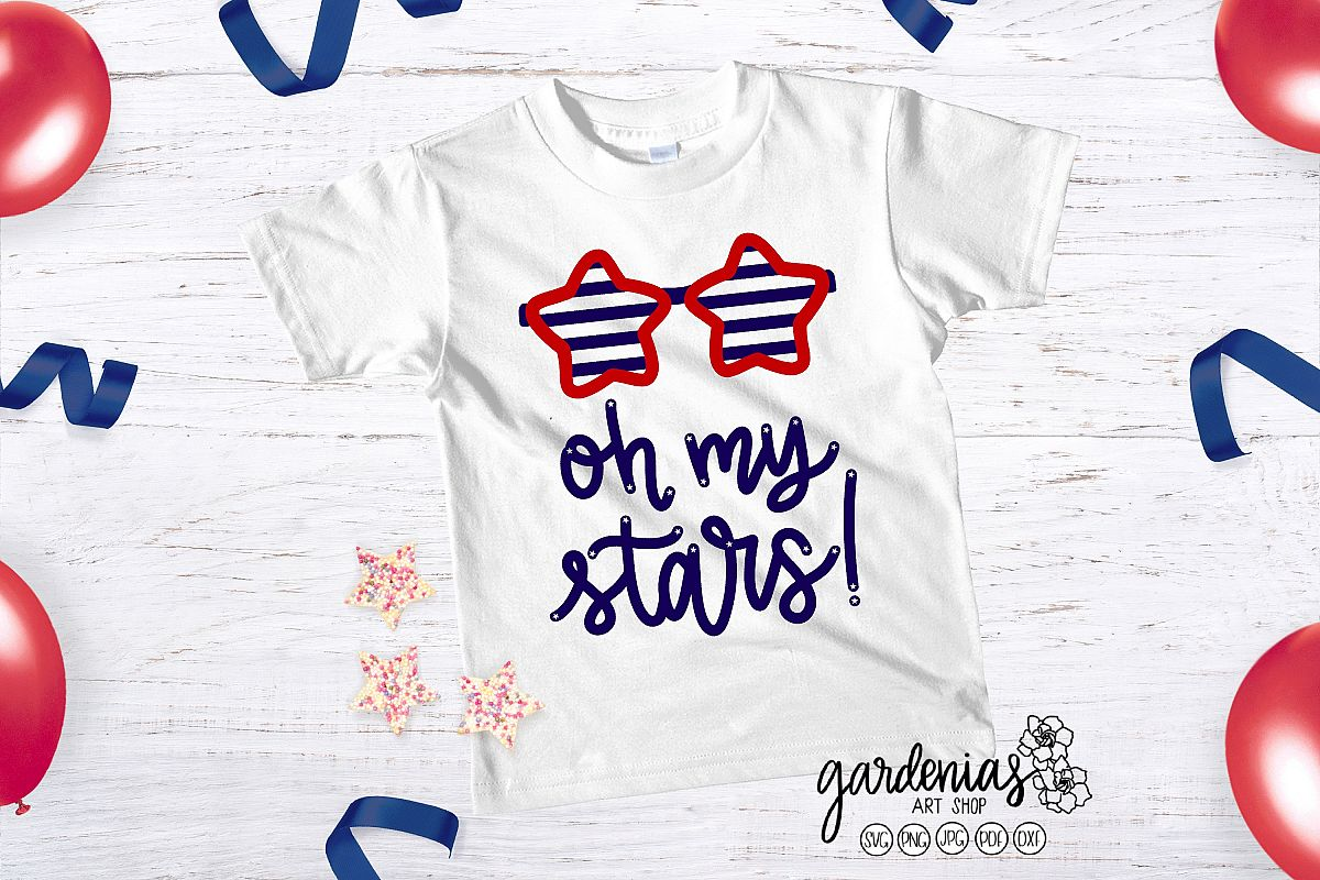 Oh My Stars SVG | Star Sunglasses Cut File | 4th of July example image 1