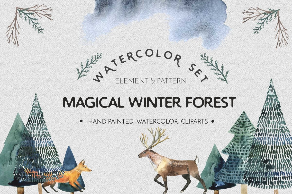 Watercolor animal forest - watercolor set example image 1