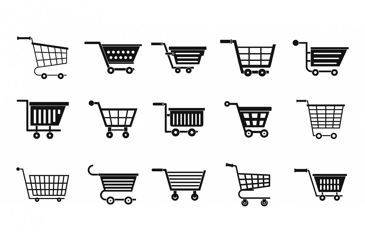 Shop cart icon set, simple style example image 1