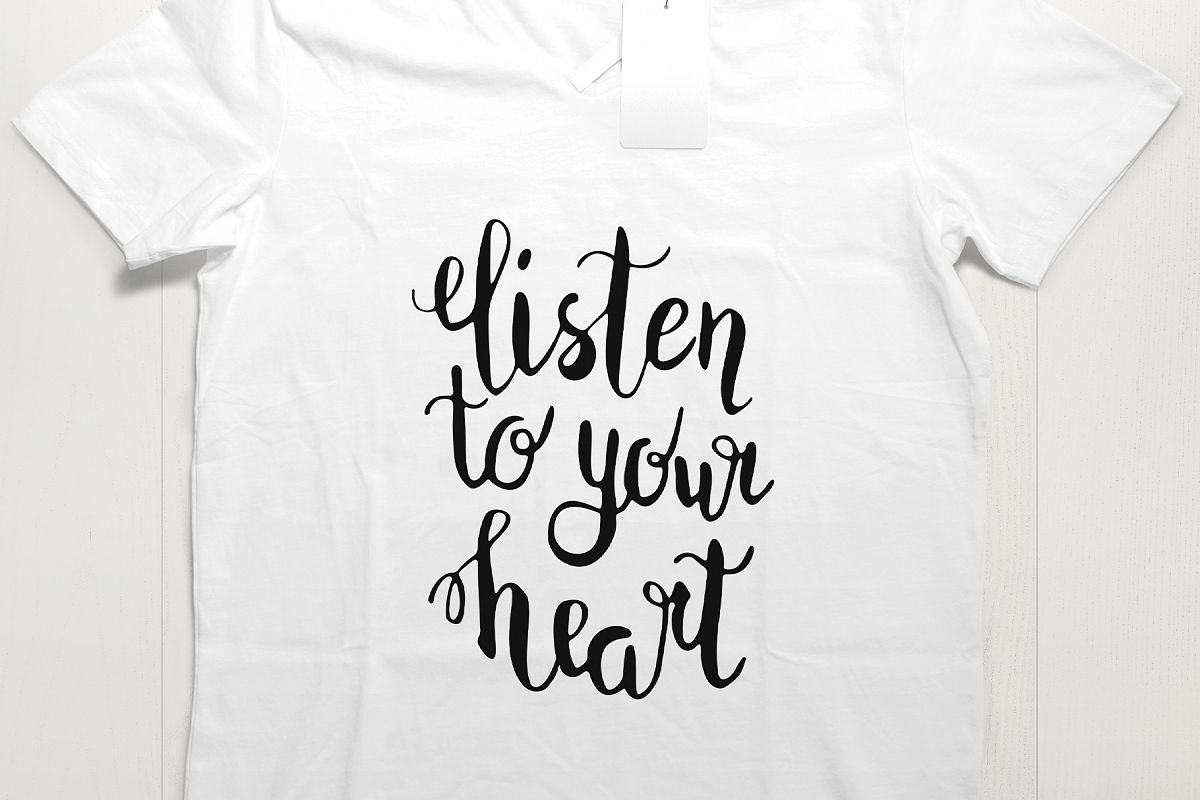 Listen to your heart lettering SVG PNG EPS JPG example image 1